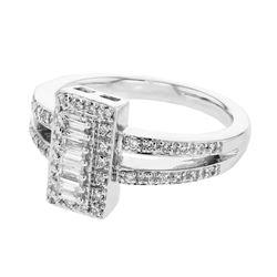 0.46 CTW Diamond Ring 18K White Gold - REF-86K2W
