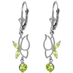 Genuine 0.80 ctw Peridot Earrings Jewelry 14KT White Gold - REF-38V2W