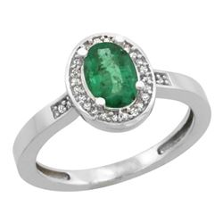 Natural 1.08 ctw Emerald & Diamond Engagement Ring 14K White Gold - REF-34M2H