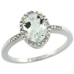 Natural 1.2 ctw Green-amethyst & Diamond Engagement Ring 10K White Gold - REF-16R9Z