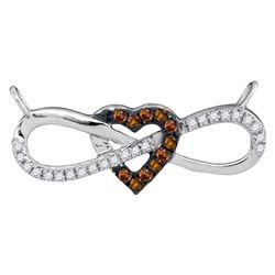 0.15 CTW Cognac-brown Color Diamond Infinity Heart Pendant 10KT White Gold - REF-16W4K