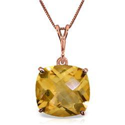 Genuine 3.6 ctw Citrine Necklace Jewelry 14KT Rose Gold - REF-28W9Y