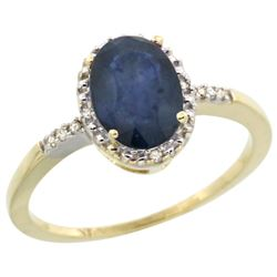 Natural 1.47 ctw Blue-sapphire & Diamond Engagement Ring 10K Yellow Gold - REF-23X2A