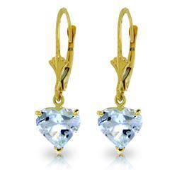 Genuine 3.05 ctw Aquamarine Earrings Jewelry 14KT Yellow Gold - REF-38F5Z