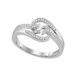 0.10 CTW Diamond Swirl Ring 10KT White Gold - REF-18N2F