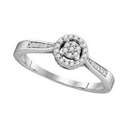 0.13 CTW Diamond Cluster Bridal Engagement Ring 10KT White Gold - REF-14F9N