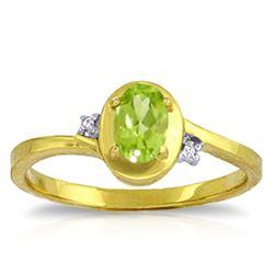 Genuine 0.51 ctw Peridot & Diamond Ring Jewelry 14KT Yellow Gold - REF-25W4Y