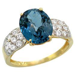 Natural 2.75 ctw london-blue-topaz & Diamond Engagement Ring 14K Yellow Gold - REF-59V2F
