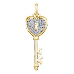 0.18 CTW Diamond Heart Handle Key Pendant 10KT Yellow Gold - REF-22M4H
