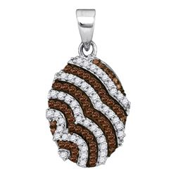 0.33 CTW Cognac-brown Color Diamond Oval Pendant 10KT White Gold - REF-19X4Y