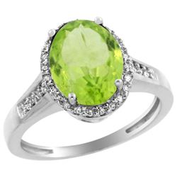Natural 2.49 ctw Peridot & Diamond Engagement Ring 14K White Gold - REF-46Y6X
