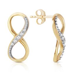 Genuine 0.06 ctw Diamond Anniversary Earrings Jewelry 14KT Yellow Gold - REF-46V3W