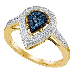 0.25 CTW Blue Color Diamond Teardrop Cluster Ring 10KT Yellow Gold - REF-30M2H