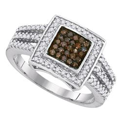 0.50 CTW Cognac-brown Color Diamond Square Cluster Ring 10KT White Gold - REF-32F9N