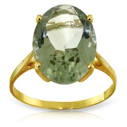 Genuine 7.55 ctw Green Amethyst Ring Jewelry 14KT Yellow Gold - REF-44Y4F