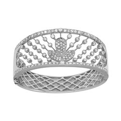 3.41 CTW Diamond Bangle 18K White Gold - REF-636K6W