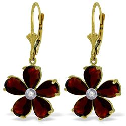 Genuine 4.43 ctw Garnet & Diamond Earrings Jewelry 14KT Yellow Gold - REF-49Y8F