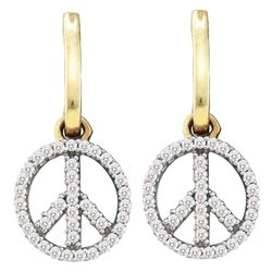 0.25 CTW Diamond Small Peace Sign Dangle Earrings 10KT Yellow Gold - REF-22X4Y