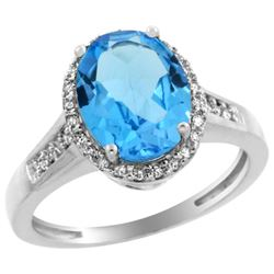 Natural 2.49 ctw Swiss-blue-topaz & Diamond Engagement Ring 14K White Gold - REF-42A2V