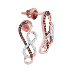 0.15 CTW Red Color Diamond Infinity Screwback Earrings 10KT Rose Gold - REF-20X9Y