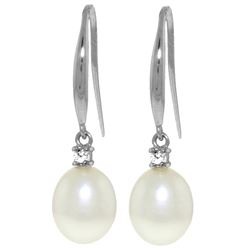 Genuine 8.1 ctw Pearl & Diamond Earrings Jewelry 14KT White Gold - REF-25N8R