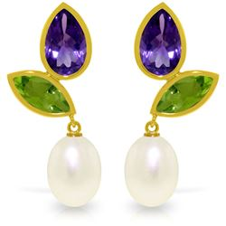 Genuine 16.6 ctw Pearl, Peridot & Amethyst Earrings Jewelry 14KT Yellow Gold - REF-45X7M