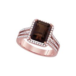 3.76 CTW Emerald-cut Smoky Quartz Diamond Solitaire Ring 14KT Rose Gold - REF-98X8Y