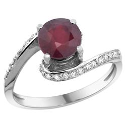 Natural 1.29 ctw ruby & Diamond Engagement Ring 14K White Gold - REF-53F3N