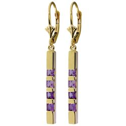 Genuine 0.70 ctw Amethyst Earrings Jewelry 14KT Yellow Gold - REF-55R2P