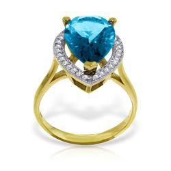 Genuine 4.66 ctw Blue Topaz & Diamond Ring Jewelry 14KT Yellow Gold - REF-76M6T