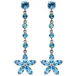 Genuine 4.8 ctw Blue Topaz Earrings Jewelry 14KT White Gold - REF-56P8H
