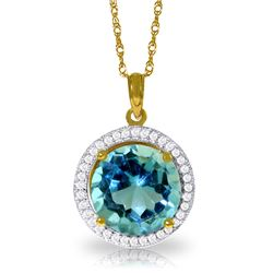 Genuine 8 ctw Blue Topaz & Diamond Necklace Jewelry 14KT Yellow Gold - REF-72P2H