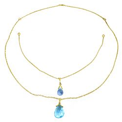 Genuine 7.5 ctw Blue Topaz Necklace Jewelry 14KT Rose Gold - REF-56Z4N