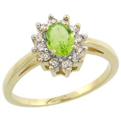 Natural 0.67 ctw Peridot & Diamond Engagement Ring 14K Yellow Gold - REF-48A6V