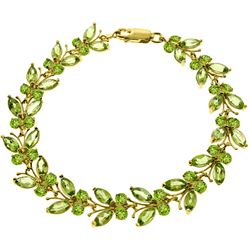 Genuine 16.5 ctw Peridot Bracelet Jewelry 14KT Yellow Gold - REF-179M2T