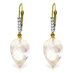 Genuine 24.65 ctw White Topaz & Diamond Earrings Jewelry 14KT Yellow Gold - REF-61Y2F