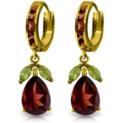Genuine 14.3 ctw Peridot & Garnet Earrings Jewelry 14KT Yellow Gold - REF-93V6W