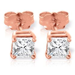 Genuine 1.0 ctw Diamond Anniversary Earrings Jewelry 14KT Rose Gold - REF-138M8T