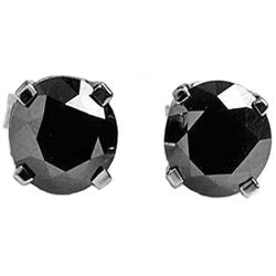 Genuine 2.0 ctw Black Diamond Earrings Jewelry 14KT White Gold - REF-84N8R