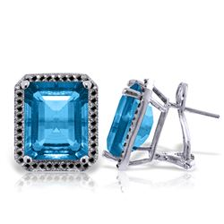 Genuine 15.6 ctw Blue Topaz & Black Diamond Earrings Jewelry 14KT White Gold - REF-131Y3F