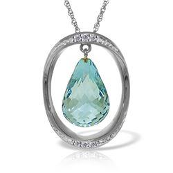 Genuine 11.60 ctw Blue Topaz & Diamond Necklace Jewelry 14KT White Gold - REF-112H2X