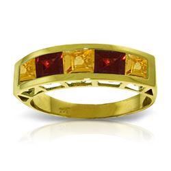 Genuine 2.25 ctw Citrine & Garnet Ring Jewelry 14KT Yellow Gold - REF-54H2X