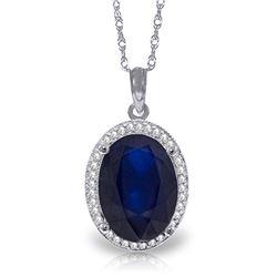 Genuine 6.58 ctw Sapphire & Diamond Necklace Jewelry 14KT White Gold - REF-103X5M