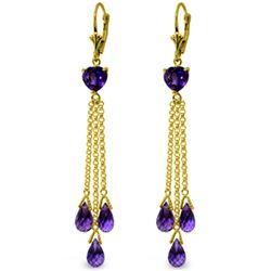 Genuine 9.5 ctw Amethyst Earrings Jewelry 14KT Yellow Gold - REF-62T2A