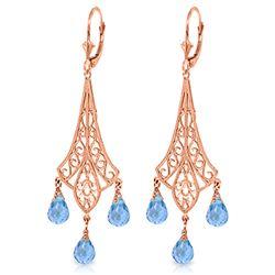 Genuine 4.8 ctw Blue Topaz Earrings Jewelry 14KT Rose Gold - REF-56Z9N