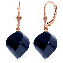 Genuine 30.5 ctw Sapphire Earrings Jewelry 14KT Rose Gold - REF-44H4X