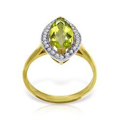 Genuine 2.15 ctw Peridot & Diamond Ring Jewelry 14KT Yellow Gold - REF-71X3M