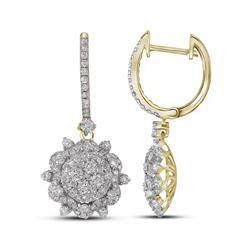 2.28 CTW Diamond Starburst Cluster Dangle Hoop Earrings 14KT Yellow Gold - REF-244F4N