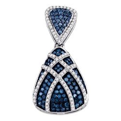 0.95 CTW Blue Color Diamond Teardrop Cluster Pendant 10KT White Gold - REF-44H9M