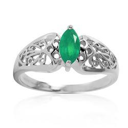 Genuine 0.20 CTW Emerald Ring Jewelry 14KT White Gold - REF-48V4W